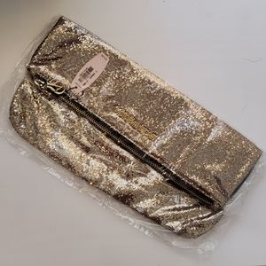 NWT VS gold sparkle holdover clutch bag